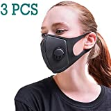 3X Anti Dust Mask with PM2.5 Filter, Face Mouth Mask with Carbon Filters, Fashion Reusable Washable Outdoor Unisex Mask, Filtered Anti-Pollution Facemask (3PCS)