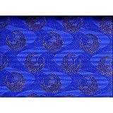 和の布・和布(鶴のジャガード織・サテン生地)110cm幅、ポリエステル100%、(紺地・5.5cmの金の鶴) 1m単位です。それ以上の場合は切らずに必要なメーター数でお出しいたします。