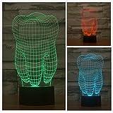 Magicalパネルの歯の3d光学式ビジュアル化イリュージョン7色変更USBタッチスイッチテーブルランプBulbing LEDライト夜間照明ホーム装飾家庭用ライト Lamp009