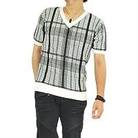 (ロハス) LOHASVネックチェック柄ニットTシャツ/半袖/メンズ/トップス/ニットソー/Tシャツ/ランダムチェック/お兄
