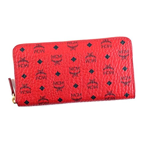 エムシーエム 財布 長財布 MCM COLOR VISETOS MYL6AVC80 ZIP AROUND LRG 12 CREDIT RU001 RUBY RED COATED CANVAS (PVC) 100% 並行輸入品