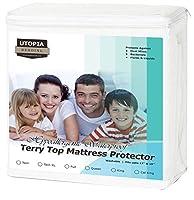 Premium Hypoallergenic Waterproof Mattress Protector - Vinyl Free - Fitted Mattress Cover (Queen) by Utopia Bedding