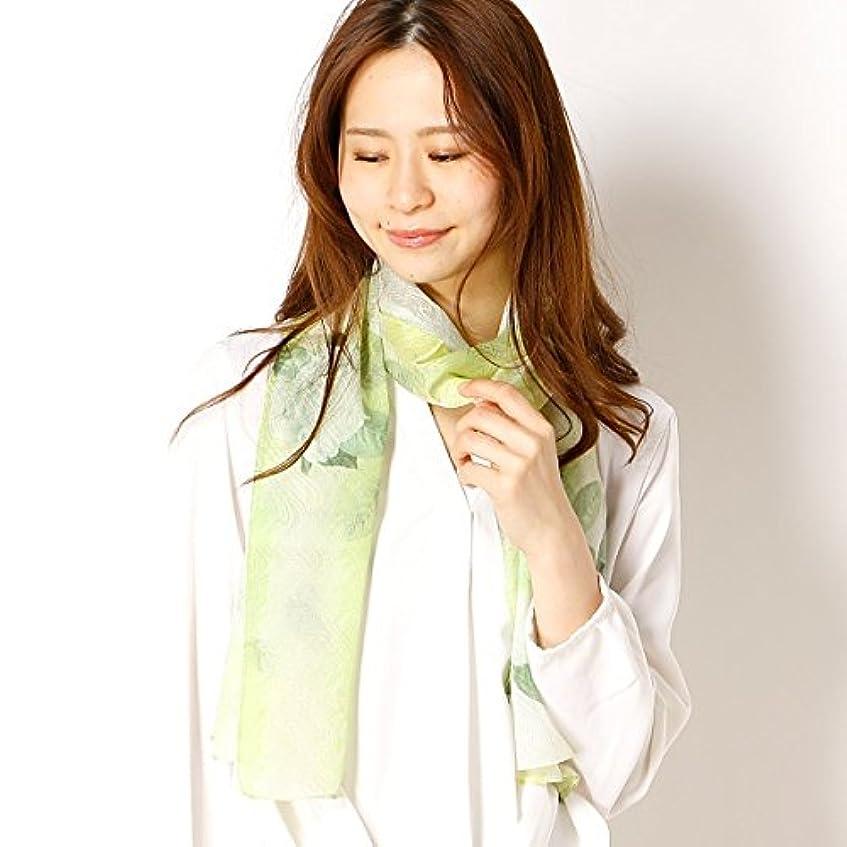 不信着る妖精ミラ?ショーン(雑貨)(mila schon) 【手洗いOK】シルクジャカードインクジェットフラワープリントロングスカーフ
