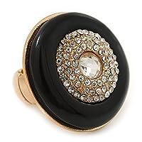 Largeブラックエナメル、ディアマンテ' Button 'フレックスリングでゴールドメッキ–35mm直径–サイズ7/8