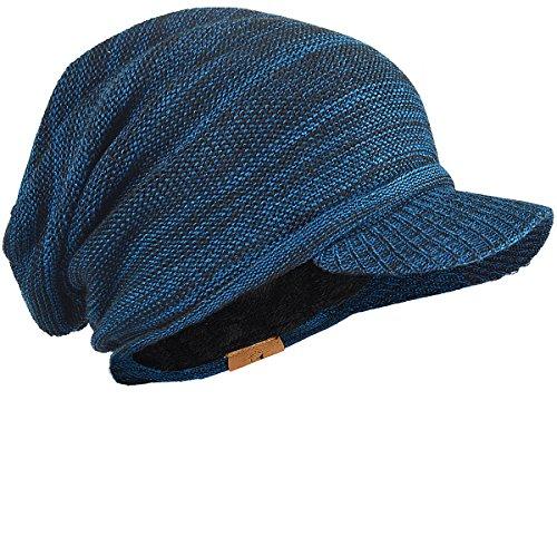 FORBUSITE つば付きニット帽 メンズ レディース 大きいサイズニットキャップ 裏起毛 防寒 厚手 B319