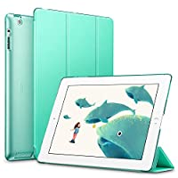 ESR iPad ケース iPad2 ケース iPad3 ケース iPad4 ケース スタンド機能 レザー(PU) オートスリープ 傷つけ防止 三つ折タイプ iPad2/3/4世代専用スマートカバー(ミントグリーン)