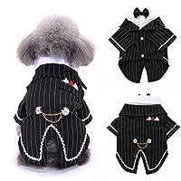 hamulekfae-素敵なストライプちょう結びペット犬子犬シャツタキシードウェディングコスチュームアパレル衣装S