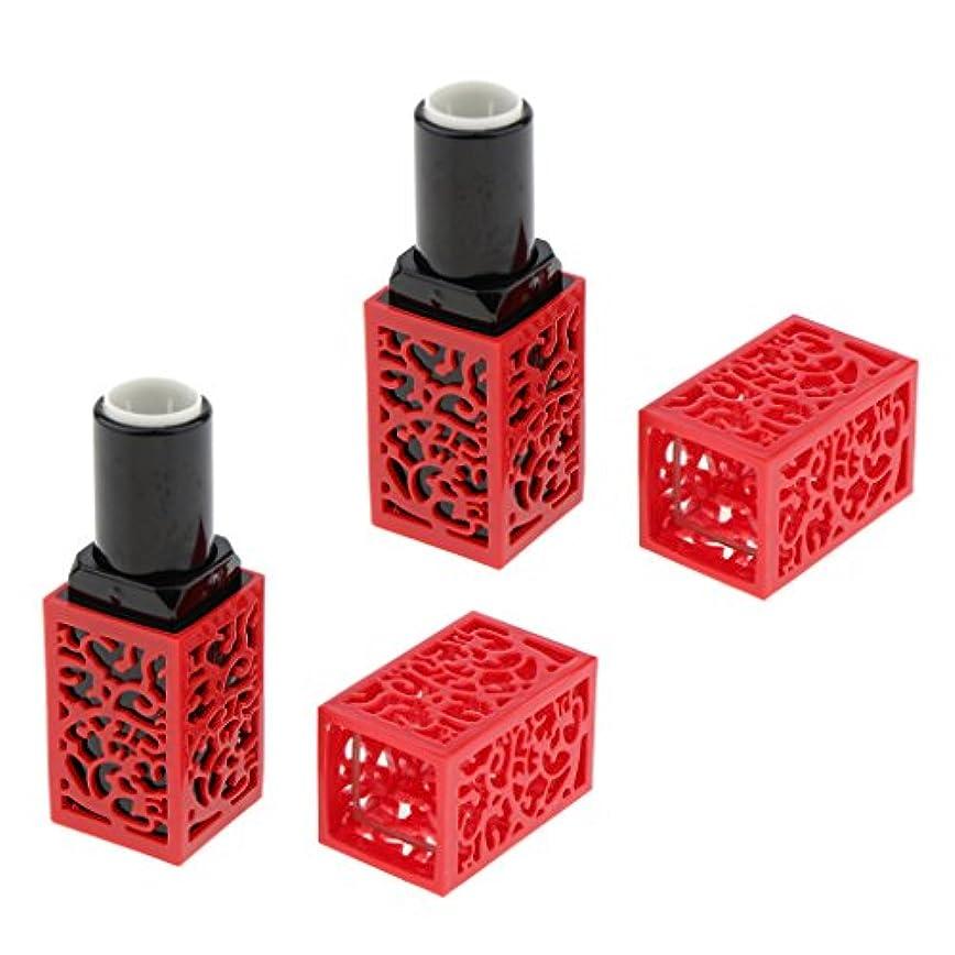 均等に責め想像力2個入 空チューブ リップスティックチューブ 口紅チューブ リップクリーム 容器 DIY 化粧品 メイクアップツール 全2色 - 赤