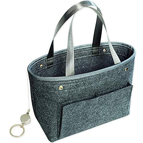 PEYNE バッグインバッグ フェルト レディース インナーバッグ - A4 収納 バッグ, Felt Bag In Bag, フェルト素材, 【グレー L】 旅行用 バッグ マルチ収納 ポーチ, バッグ, おしゃれ かわいい バッグの