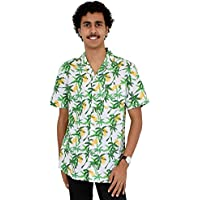 Island Style Clothing Mens Hawaiian Shirts Flamingos, Pineapples, Toucans, Floral Tropical Prints Cotton