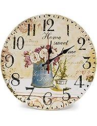 Dobetter カントリーガーデンファッション壁時計シンプルな壁時計壁の装飾木製の壁時計クォーツ壁時計手作りの 動き (PATTERN : 1)