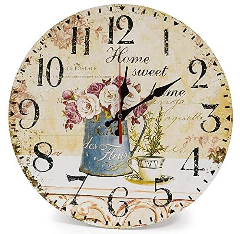 ボーカル技術的なマージンDobetter カントリーガーデンファッション壁時計シンプルな壁時計壁の装飾木製の壁時計クォーツ壁時計手作りの 動き (PATTERN : 1)
