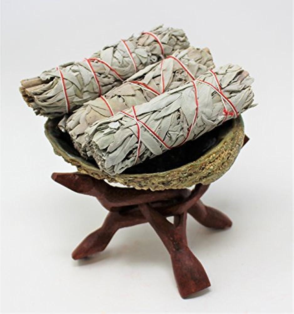 先住民望みクッションSmudgeキット: Large Abaloneシェル、木製スタンド& ( 3 ) 3つホワイトセージスマッジSticks : Rainbowrecordsブランド