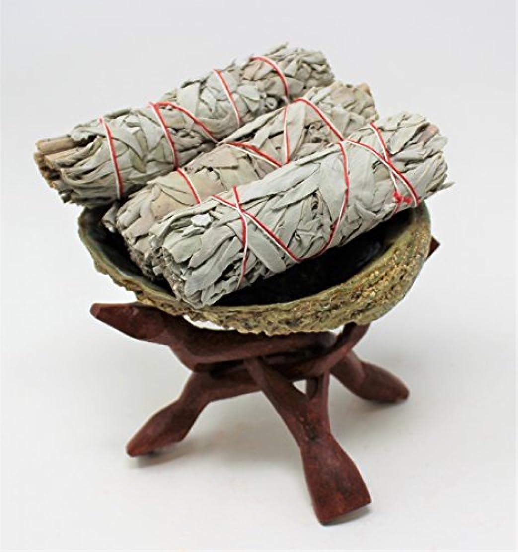 等価読者暗唱するSmudgeキット: Large Abaloneシェル、木製スタンド& ( 3 ) 3つホワイトセージスマッジSticks : Rainbowrecordsブランド