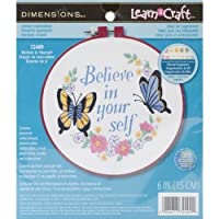 "Dimensions Learn-A-Craft Believe In Yourself Crewel Embroidery Kit: 6"" Round [並行輸入品]"