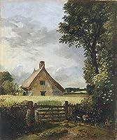 手描き-キャンバスの油絵 - A Cottage in a Cornfield ロマンチック John Constable 芸術 作品 洋画 ウォールアートデコレーション -サイズ03