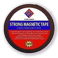 """接着磁気ストリップ–柔軟なマグネットテープ。2インチx 10フィートX 1/ 16""""厚–非常に強力な。"""