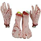 コスプレ トリッキーなおもちゃ 血まみれ  切断された手  足  ホラー  恐怖  どっきり  いたずらグッズ  学園祭  ハロウィン  パーティー  肝試し イベント 化粧の特殊効果 (1組の手と1組の足) ( Color : Skin )