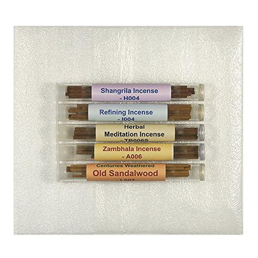 多年生滝快いチベット香サンプルパック# 2 – 5チューブセット – [ Shangrila Incense + Refining Incense +ハーブMeditation Incense ø4 mm + Zambhala Incense +風化何世紀も古いサンダルウッド] – tis552