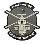 Peace Through Superior Firepower AH-64 Apache Helicopter モラール PVC ラバー 3D ベルクロ面ファスナー パッチ Patch