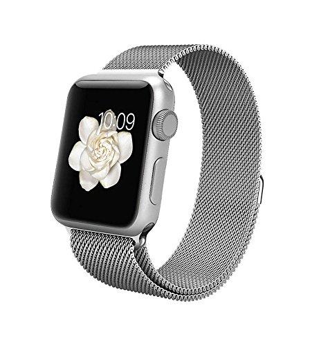 【ZOZ】【PJ-011】 アップルウォッチ バンド Apple watchベルト マグネット式 ステンレス アップルウォッチ ベルト (38mm, シルバー)