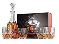 5-piece Imperial Whiskey Decanter Set。4 Glasses and Scotch Decanter with Stopper – ユニークなエレガントな食器洗い機セーフガラスLiquor Bourbon Decanter ultra-clarity Glassware by Ashcroft