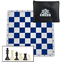 WE Games Ultimate Compact Tournament Chess Set with Blue Silicone Chess Board