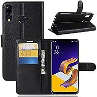 AVIDET Asus Zenfone 5 ZE620KL ケース 上質感PUレザーカバー 薄型 軽量 Zenfone5 ZE620KL 手帳型 ケース スタンド機能付きケース (Zenfone5Z ZS620KL ケース ブラック)