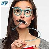 メガネロングストロー グルグル眼鏡ストロー メガネストロー メガネ型ストロー 面白い イベント ハロウィン クリスマス 誕生日会 パーティー まとめ買い用 コスプレなどに 装飾 飲む用 口ひげ付き(ブルー 2Pcs)
