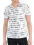 (スペイド) SPADE Tシャツ メンズ 半袖 総柄 花柄 ボーダー Vネック リゾート 【e153】 (M, ボーダーグレー)