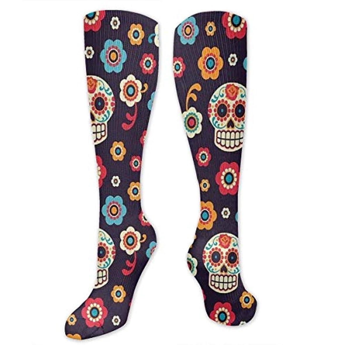 行方不明毎週囲い靴下,ストッキング,野生のジョーカー,実際,秋の本質,冬必須,サマーウェア&RBXAA Sugar Skull Face Flower Socks Women's Winter Cotton Long Tube Socks...