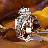 Ranipobo Fashion Micro-Inlaid Zircon Two-Tone Ring Female Wedding Engagement Rings
