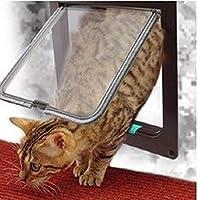 FidgetGear 大きい中型の小型の犬猫の白/コーヒーVNのための4つの方法ロックできるペット折り返しのドア 白