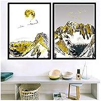 モダンスタイル引用キッズホームインテリア水彩抽象山モジュラー写真プリントhd壁アートキャンバス絵画北欧ポスター-60x80cmx2なしフレーム