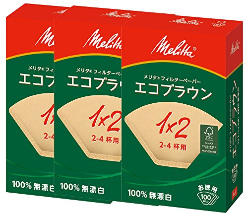 Melitta フィルターペーパー エコブラウン 【2~4杯用 100枚入り 】 PA1 ×2G NB FSCミックス 3個セット