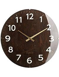 壁掛け時計 アナログ 丸型 時計 掛け時計 ウォールクロック クロック 木目調 生活雑貨 モダン おしゃれ ダークブラウン