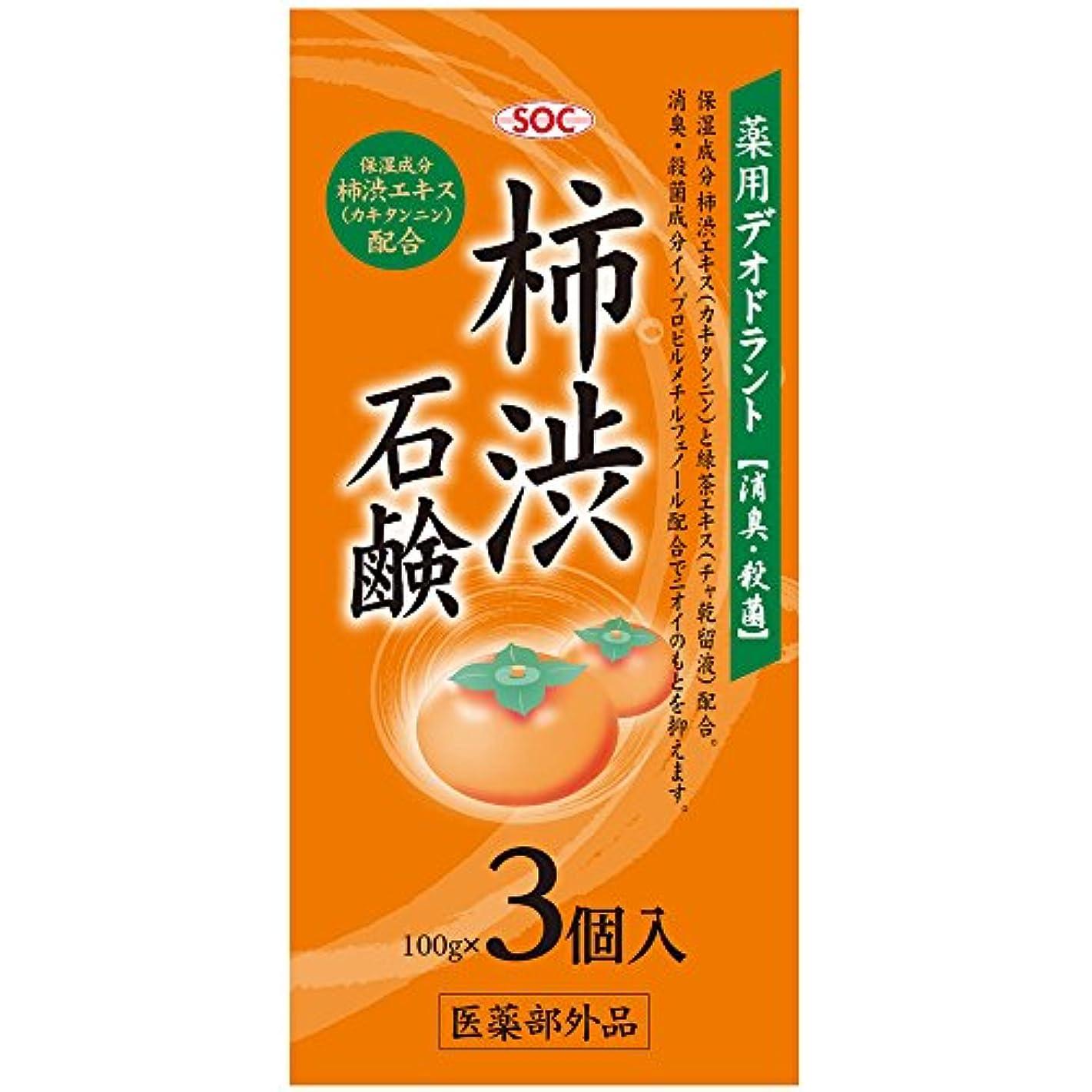 モーテル頭痛遵守するSOC 薬用柿渋石鹸 3P (100g×3)