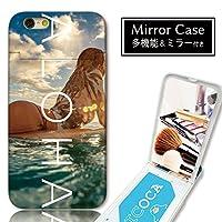 chatte noir iPhone5s iPhone5 ケース iPhoneSE ケース ミラーケース 鏡付き ミラー付き カード収納 おしゃれ ALOHA アロハ ロゴ サーフ 海 ハワイ B