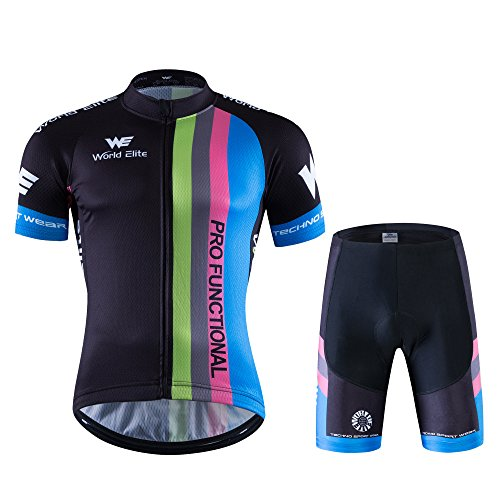 World Elite 半袖 サイクルジャージ 上下セット 自転車ウエア 半袖ウェアセット メンズ レディーズ サイクリング ツーリング時期夏用 速乾吸汗 通気がいい XL