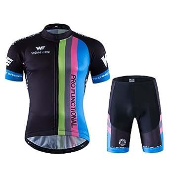 World Elite 半袖 サイクルジャージ 上下セット 自転車ウエア 半袖ウェアセット メンズ レディーズ サイクリング ツーリング時期夏用 速乾吸汗 通気がいい XXXL