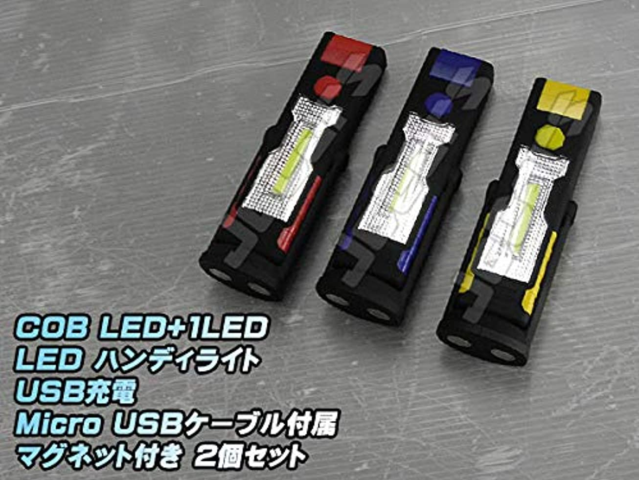 原因質量炭素LED ハンディライト 懐中電灯 COB LED+1LED USB充電式 360°回転 マグネット付き スタンド 2個セット