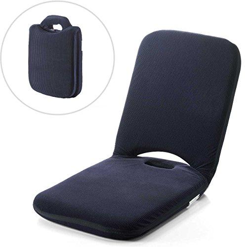 サンワダイレクト 折りたたみ座椅子 こたつ座椅子 マイクロファイバー 14段階リクライニング 持ち手付き ネイビー 150-SNCF003NV