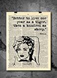 Madonna - Live As A Tiger - Dictionary Art Print - Vintage Dictionary Print 8x10 inch Home Vintage Art Wall Art for Home Wall For Living Room Bedroom Office Ready-to-Frame [並行輸入品]