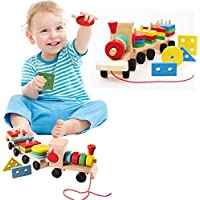 Toy Cubby High Quality Wooden Colorful Geometry Shapes Blocks Train Kids Toddlers by Toy Cubby