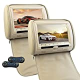 Eincar 9インチHD 800 * 480マルチOSD言語+LCDワイドデジタルスクリーン カーヘッドレストモニター マルチメディア:ビデオプレーヤー CD DVDサポート USB/SDスロット搭載 IRトランスミッター リモコン付属(CH1006B) ベージュ
