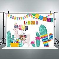 Riyidecor カートゥーン アルパカ 背景 フローラル サボテン 写真撮影 背景 カラフル メキシコスタイル 7x5フィート 装飾 お祝い 小道具 パーティー 写真撮影 背景 ブラッシュ ビニールクロス