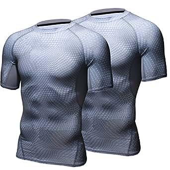 HONENNA 加圧インナー 2セット 加圧シャツ 着圧スポーツインナー メンズ 半袖 インナー 男性用機能性肌着 コンプレッションウェア 吸汗速乾 姿勢矯正 猫背解消 (M, グレー)