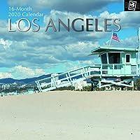 2020 ウォールカレンダー - ロサンゼルスカレンダー 12 x 12インチ マンスリービュー 16ヶ月 旅先テーマ 180リマインダーステッカー付き