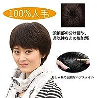 ハッピーウイッグ 100%人毛ウィッグ ウィッグ 医療用かつら 医療用ウィッグ 人毛ウイッグ UVカット抗菌ネット人工皮膚付け (自然な黒)