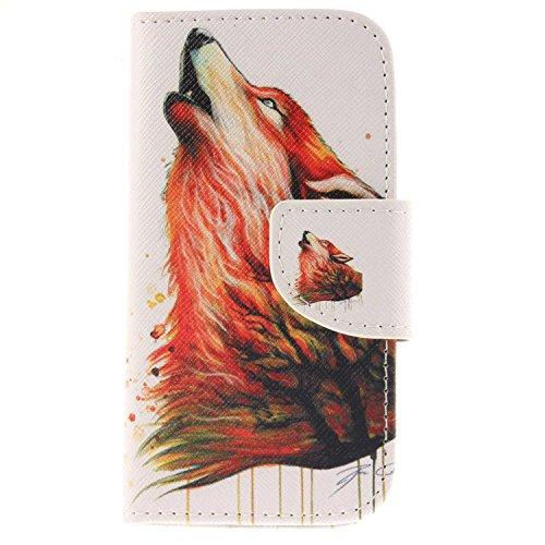 Galaxy S4 Mini ケース CUSKING 手帳ケース PUレザー フリップ カードポケット付き Samsung Galaxy ギャラクシ S4 Mini 用 軽量 滑り防止 耐衝撃 衝撃防止 保護ケース - ウルフ